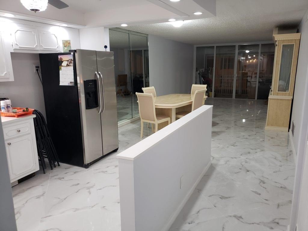 600 sq ft Porcelain Tile Flooring Job - The Remodeling Doctor