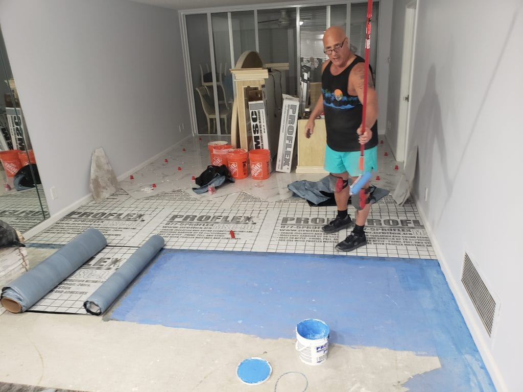 Floor Prepping for Sound Barrier - The Remodeling Doctor